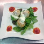Seared scallops with chilli jam